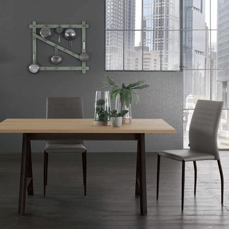 Tavolo fisso + 4 sedie Vintage, struttura effetto corten - Tavoli a prezzi sc...