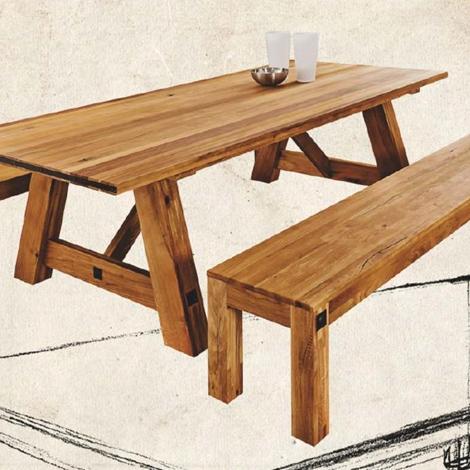 Tavolo fisso in legno massello di rovere 250 cm tavoli a - Tavolo in legno massello prezzi ...