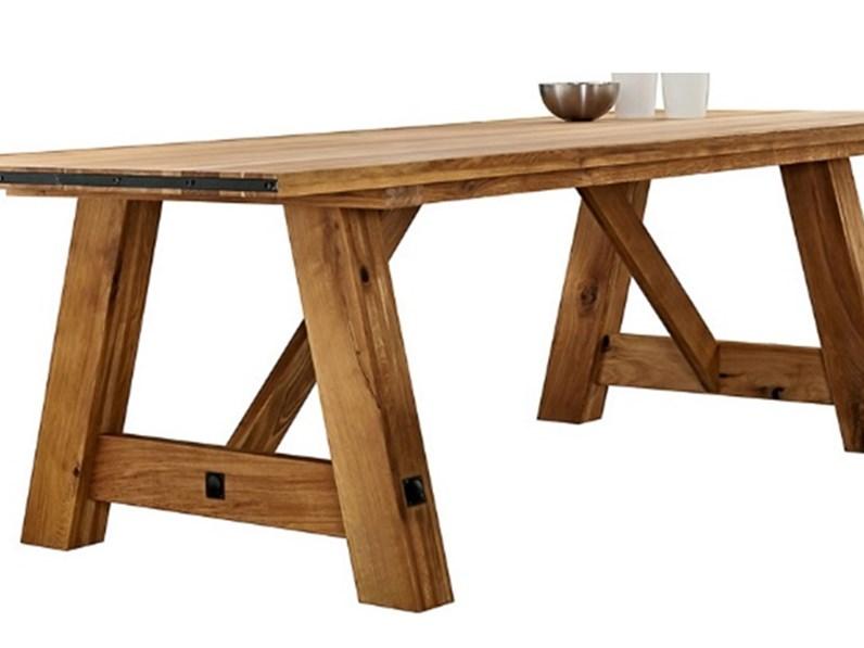 Tavolo rettangolare in legno massello di rovere 200 cm