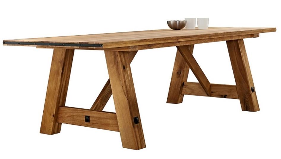 Tavolo rettangolare in legno massello di rovere 200 cm - Tavoli a ...