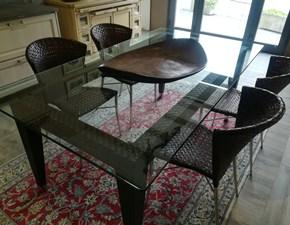 Tavolo fisso  in vetro e cuoio + 4 sedie in cuoio intrecciato Smania a prezzo ribassato