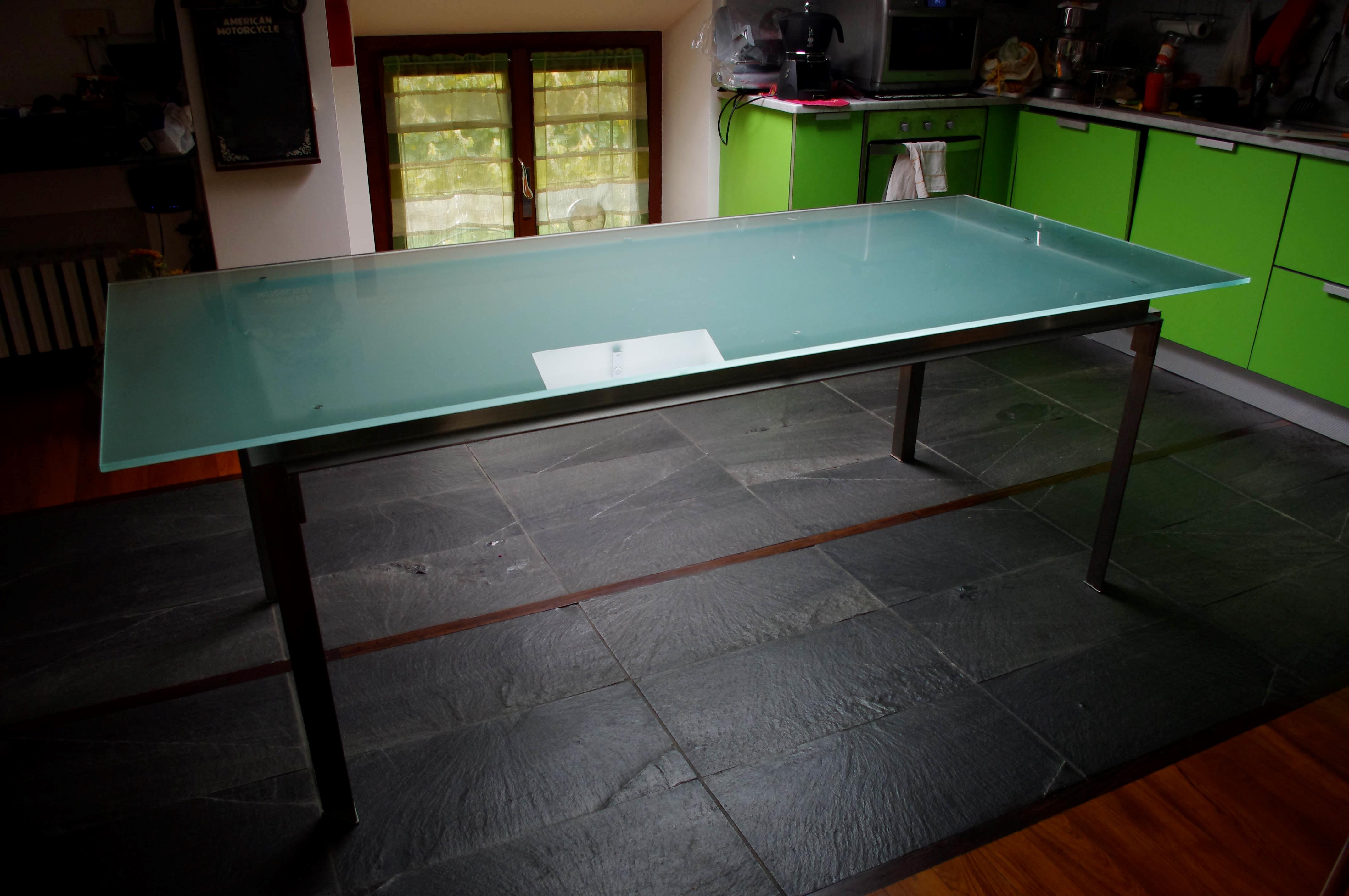 Tavolo fisso rettangolare in cristallo tavoli a prezzi scontati - Tavolo cristallo rettangolare usato ...