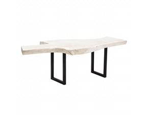 Tavolo fisso Tavolo da pranzo in legno bianco Denzzo a prezzo scontato