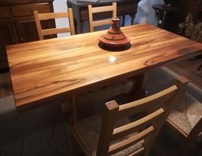 Tavolo fratino rettangolare con basamento centrale  e 4 sedie in legno  Artigianale scontato