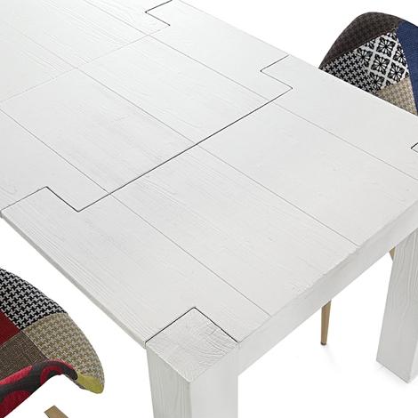 Tavolo abete bianco rettangolari rettangolari allungabili for Tavoli rettangolari allungabili in legno