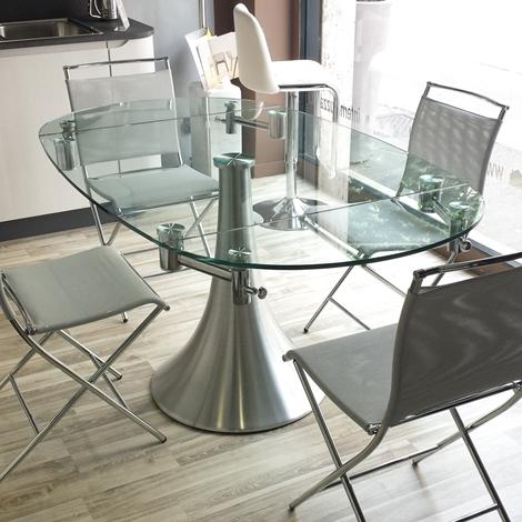 Pozzoli tavolo flute rotondo allungabile vetro tavoli a for Tavoli rotondi moderni allungabili