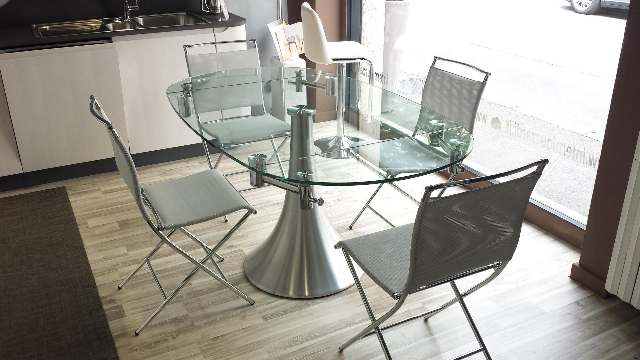 Pozzoli tavolo flute rotondo allungabile vetro tavoli a for Tavoli in cristallo
