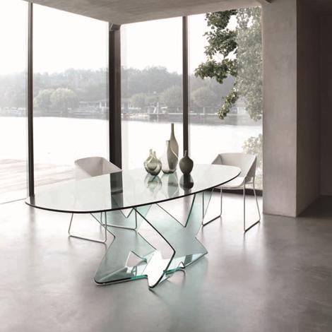 Tavolo in cristallo ellittico modello ghost della tonin - Tavolo in cristallo ovale ...