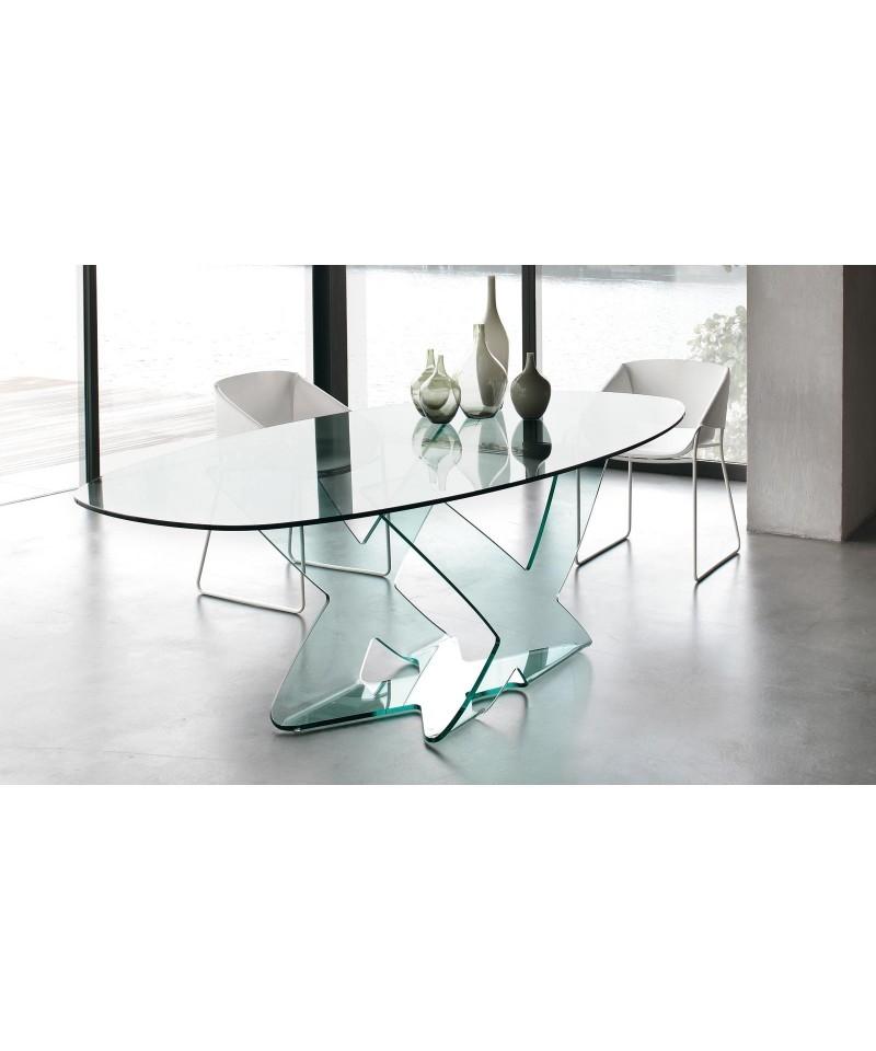 Tavolo in cristallo ellittico modello ghost della tonin for Tavolo cristallo