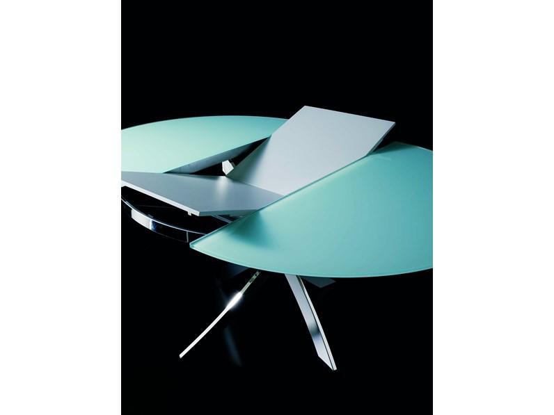 Tavolo in cristallo rotondo con basamento centrale trio for Tavolo rotondo allungabile cristallo