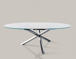 Tavolo in cristallo rotondo con basamento centrale Trio allungabile di Ingenia