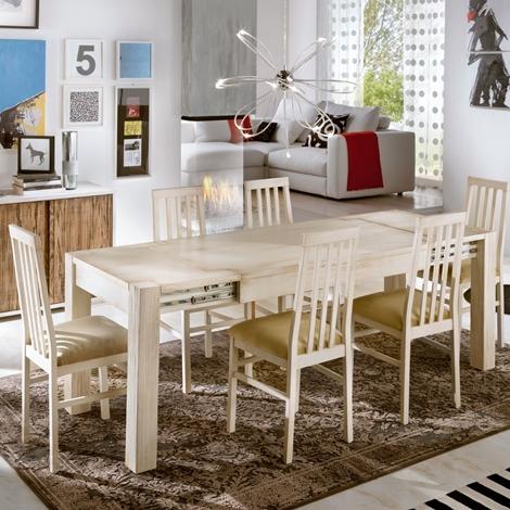 Tavolo in legno allungabile avorio spazzolato tavoli a - Tavolo legno allungabile prezzi ...