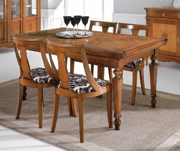 Tavolo in legno allungabile intarsi di noce tavoli a for Tavolo di legno allungabile