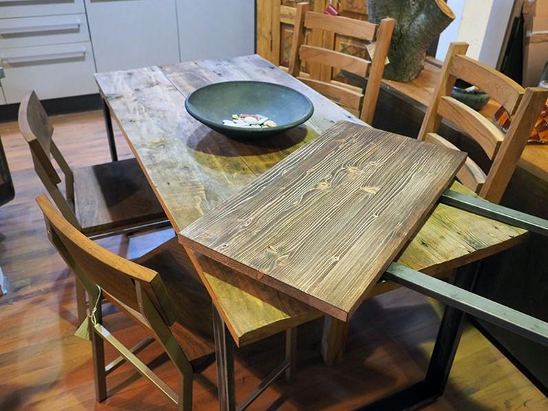 Tavolo in legno e ferro moderno industrial 80 x160 all 240 in offerta convenienza outlet - Tavolo legno e ferro ...