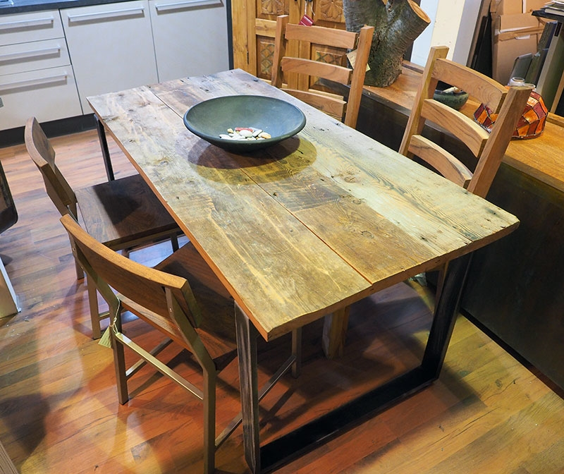Tavolo in legno e ferro moderno industrial 80 x160 all 240 for Tavolo legno e ferro