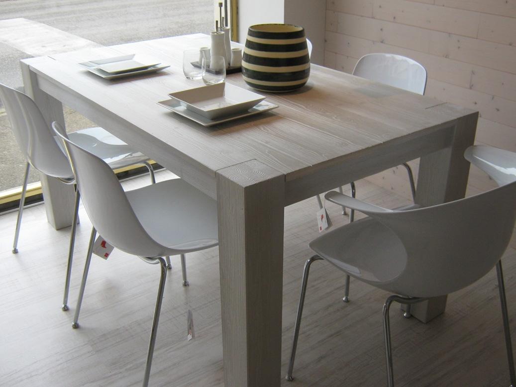 Tavolo legno bianco tavolo tondo cristallo allungabile - Epierre