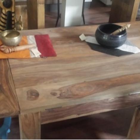 Tavolo in legno massello di noce apertura a pianoforte - Tavolo in noce massello ...