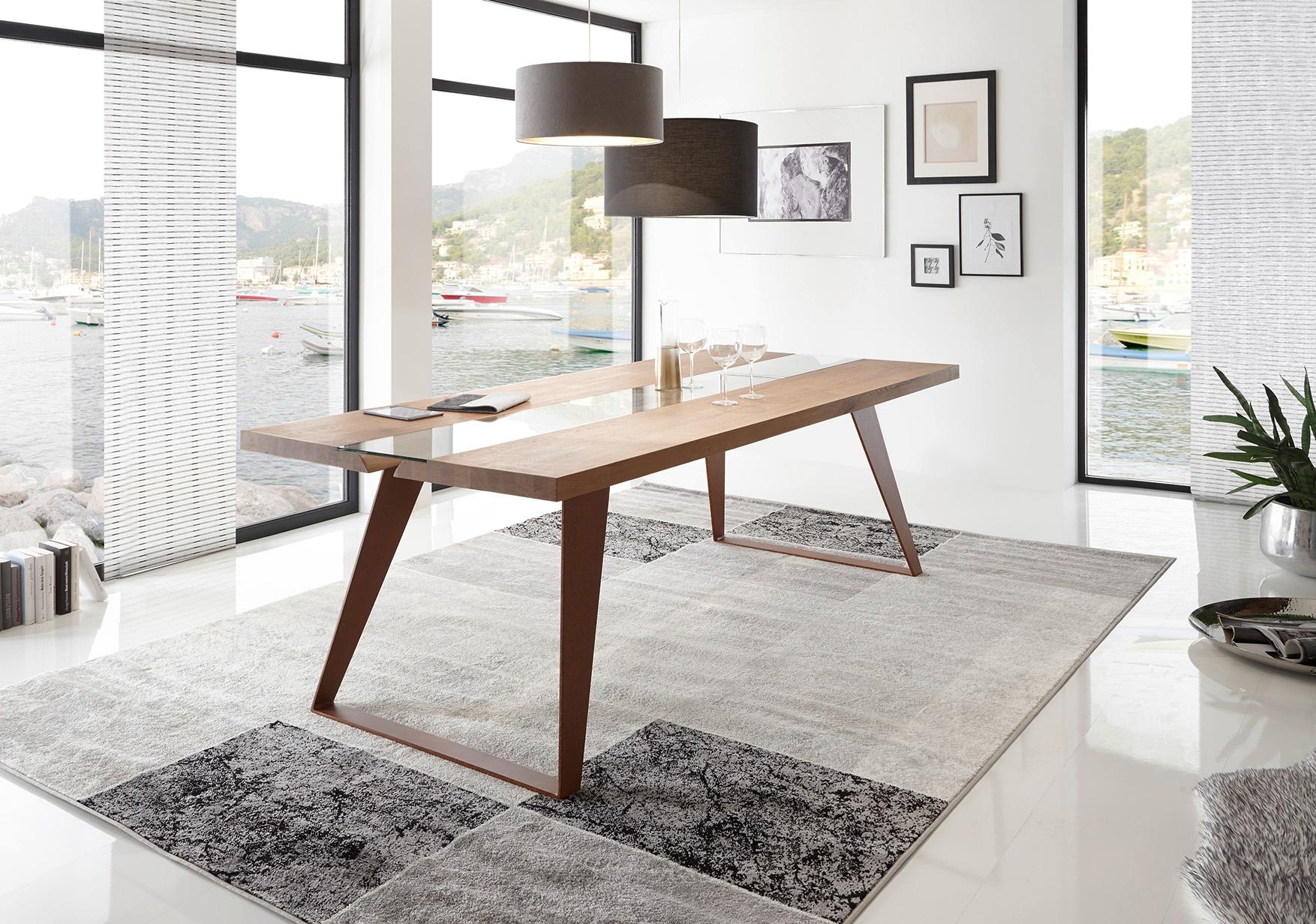 Tavolo in legno massello e gambe in metallo tavoli a - Tavolo legno e metallo ...