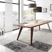 tavolo moderno legno massello rovere gambe metallo