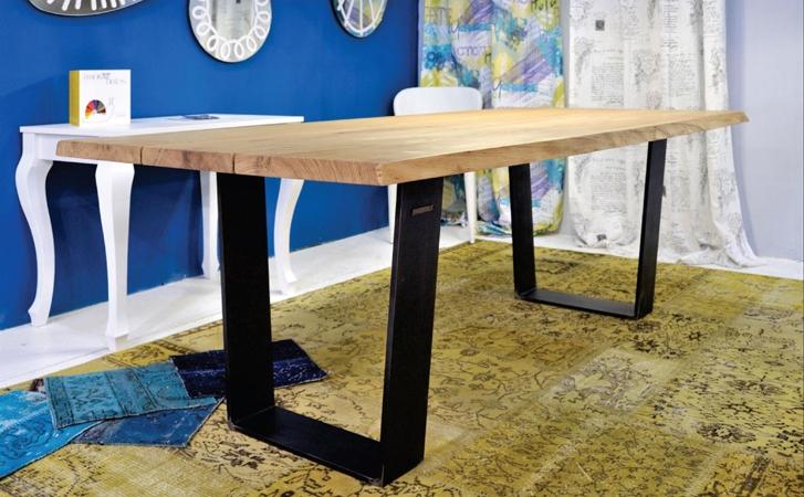 Tavolo rettangolare fisso in legno massello con struttura in ferro tavoli a prezzi scontati - Tavolo in legno massello prezzi ...