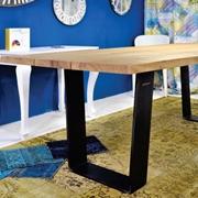 Tavolo rettangolare fisso in legno massello con struttura in ferro