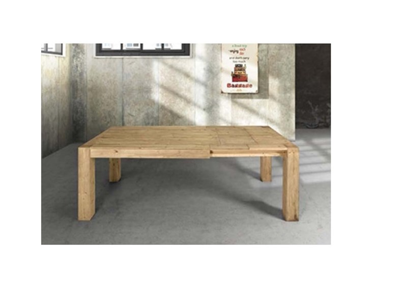 Tavolo in legno massiccio abete allungabile - Tavolo allungabile in legno massiccio ...