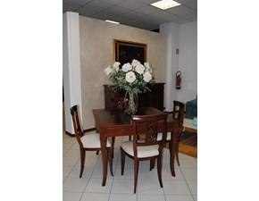 Tavolo classico quadrato completo di 4 sedie collezione Palazzo Alfieri in noce intarsiato