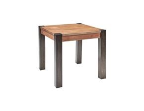 Tavolo in legno quadrato Tavolo legno e gambe  metallo injdustrial  Outlet etnico in offerta outlet