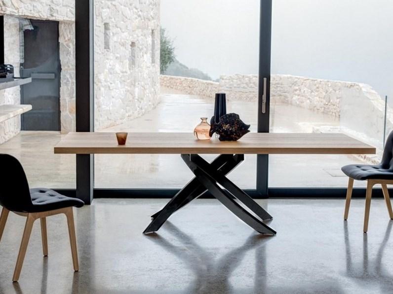 Tavolo in legno rettangolare artistico fisso bontempi casa a prezzo scontato - Prezzo casa prefabbricata in legno ...