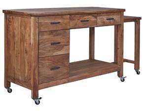 Tavolo in legno rettangolare Credenza postazione lavoro piano estraibile e ruote in legno  Outlet etnico a prezzo scontato