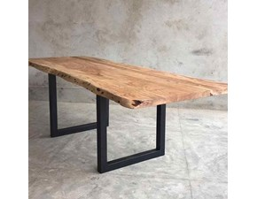 Tavolo in legno rettangolare Industrial allungabile taglio vivo Outlet etnico a prezzo ribassato