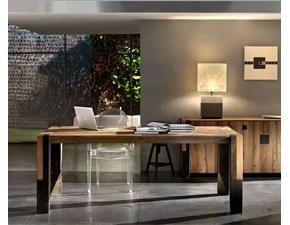 Tavolo in legno rettangolare Rovere vecchio con metallo antico allungabile Md work in offerta outlet