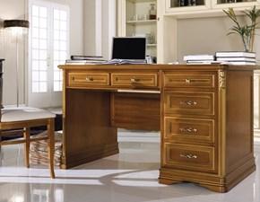 Tavolo in legno rettangolare Scrivania a 6 cassetti versione noce scontata del 40% Artigianale a prezzo ribassato