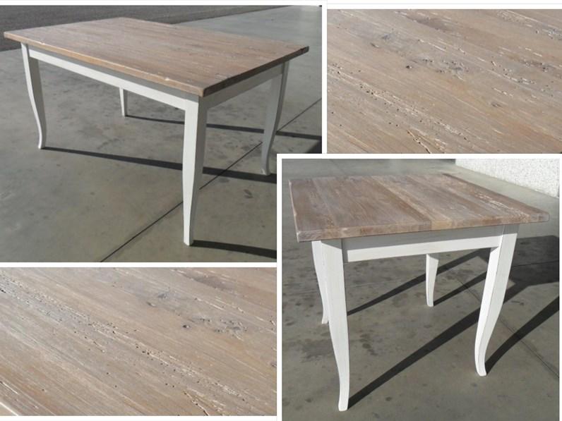 Tavolo in legno rettangolare Scrivania in legno stile shabby chic mottes  mobili Artigianale a prezzo scontato