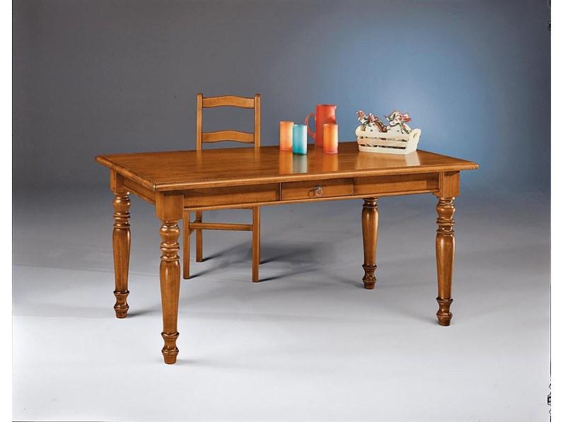 Tavolo in legno rettangolare Tavolo da pranzo con cassetto ...