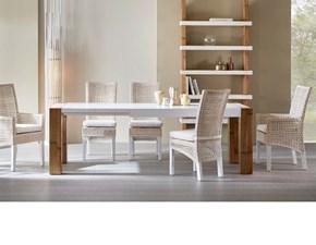 Tavolo in legno rettangolare Tavolo in legno e crash bambu design   Outlet etnico a prezzo scontato