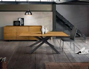 Tavolo in legno rettangolare Tavolo in legno massello sottile e base in metallo Mottes selection in Offerta Outlet