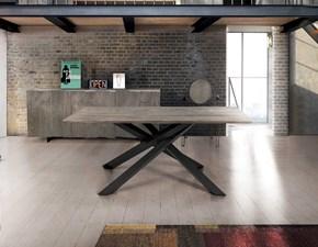 Tavolo in legno rettangolare Tavolo massello finitura beton con base in metallo Mottes selection a prezzo scontato