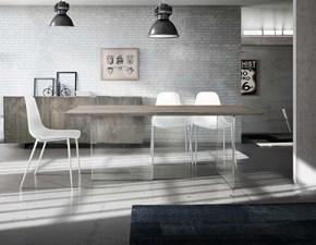 Tavolo in legno rettangolare Tavolo massello finitura beton con base in vetro Mottes selection in Offerta Outlet