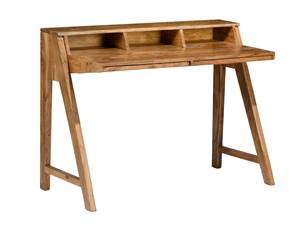 Tavolo in legno rettangolare Tavolo  scrittoio  con ripiani mobili stile vintage Outlet etnico a prezzo ribassato