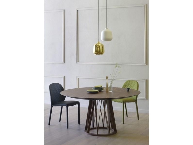 Tavolo Struttura Noce Canaletto Acco Miniforms : Tavolo in legno rotondo acco miniforms offerta outlet