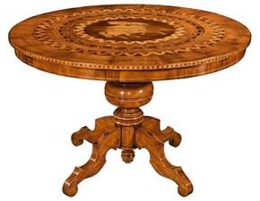 Tavolo in legno rotondo Tavolo in noce intarsiato Artigianale in Offerta Outlet