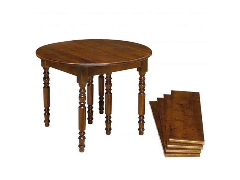 Tavolo in legno rotondo tavolo rotondo a bandelle allungabile scontato del 40 artigianale in - Tavolo rotondo allungabile legno ...