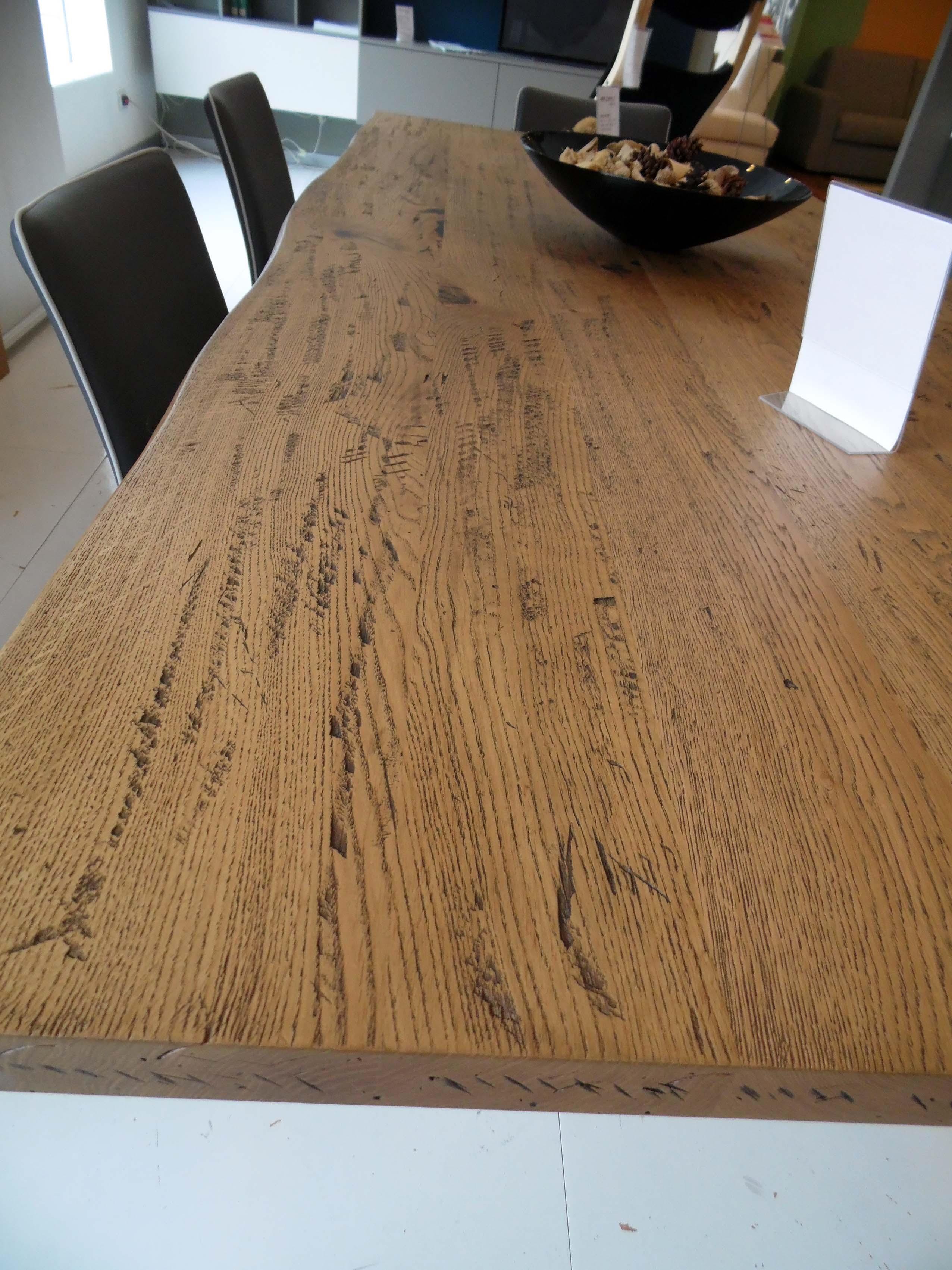 Tavolo in massello di Rovere anticato effetto corteccia con gambe vetro - SCO...