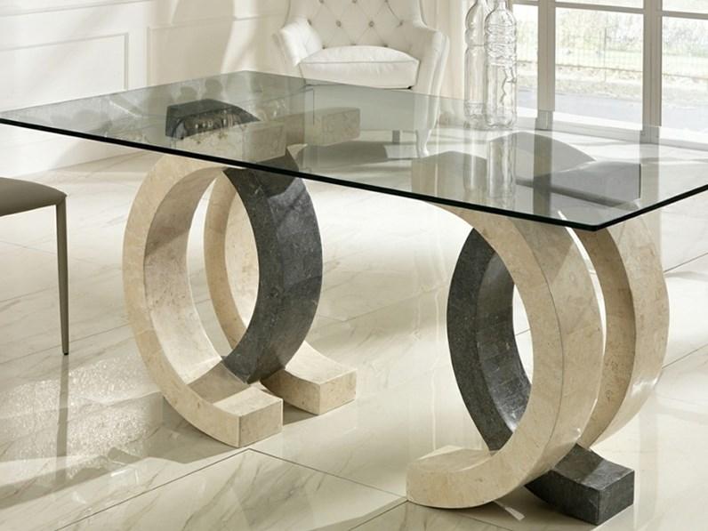 Tavoli In Cristallo Con Base In Pietra.Tavolo In Pietra E Vetro Design Md Fine Serie