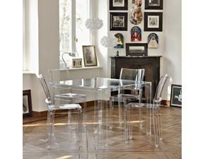 Tavolo in plastica quadrato Invisible table Kartell a prezzo ribassato