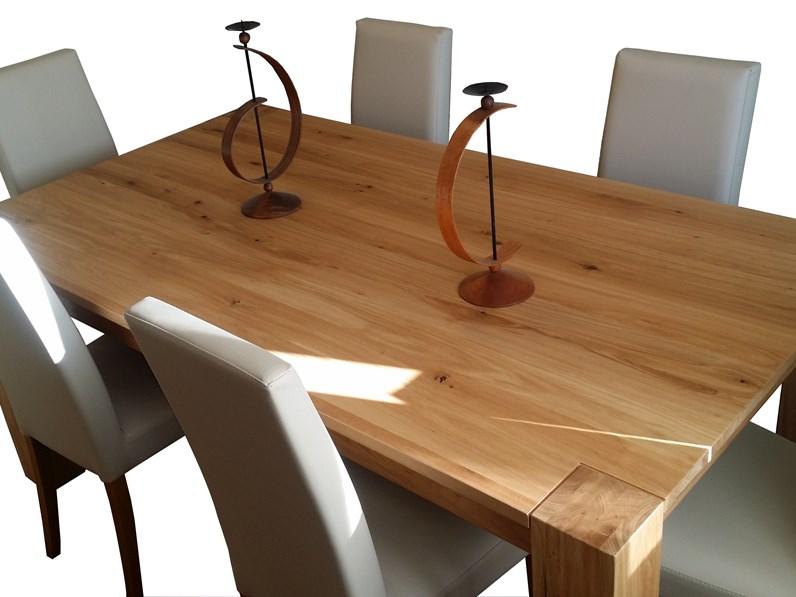 tavolo in rovere con gamboni massicci