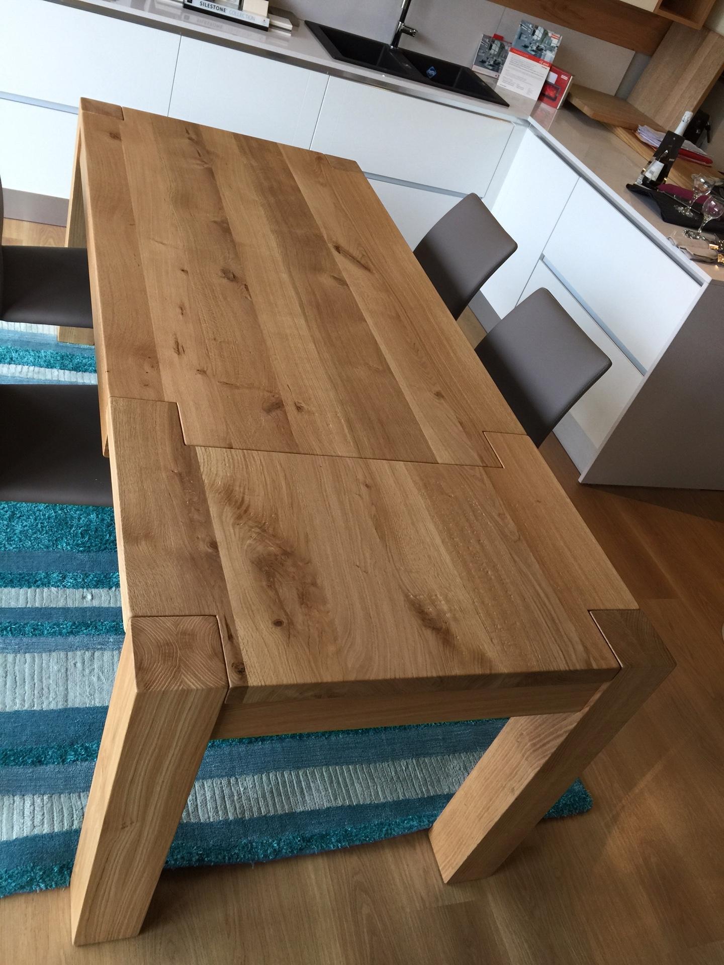Tavolo in rovere massello 160x90 allungabile 260 tavoli for Tavolo consolle allungabile legno massello