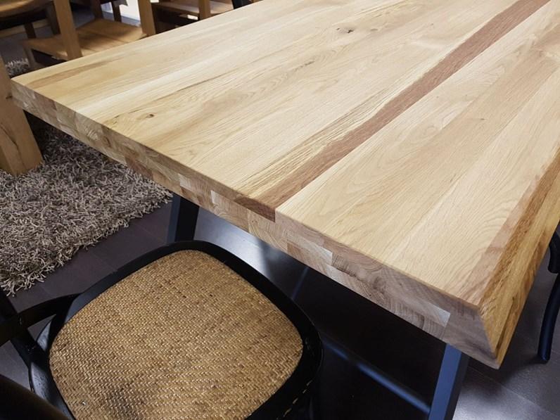 Tavolo in Rovere Scortecciato fisso spessore 6 cm.