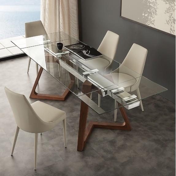 Tavolo in vetro, acciaio inox e noce Gaudì La Seggiola - Tavoli a prezzi scontati